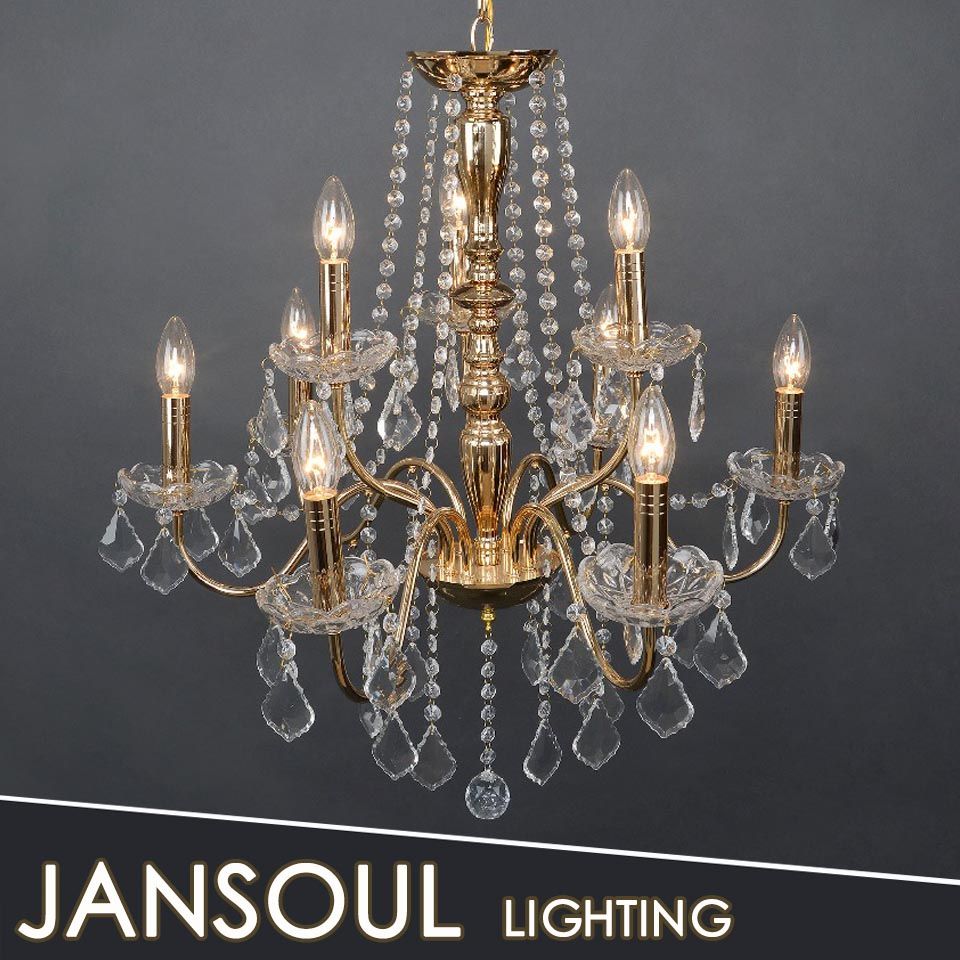 zhongshan new traditional chandelier shinning brass plated chandelier crystal dinning room pendant lamp 9 arms chandelier