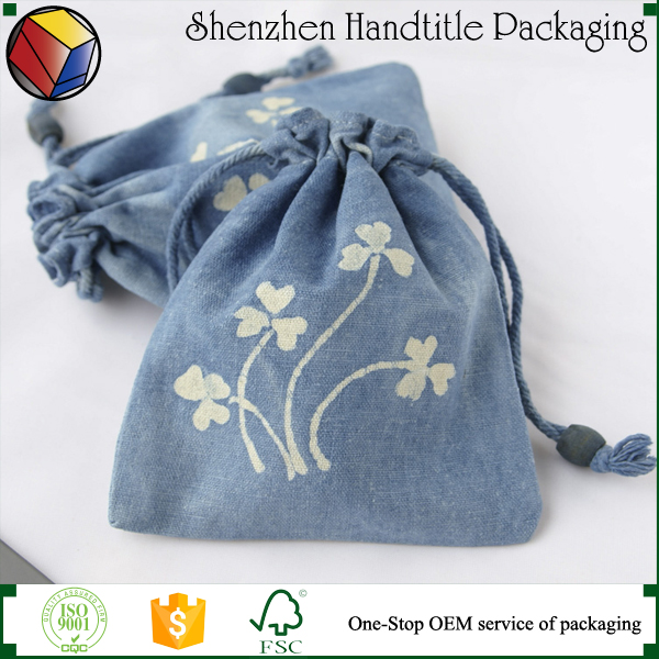 cotton linen pouch bag with logo printed/promotional linen sachet pouch for sunglasses