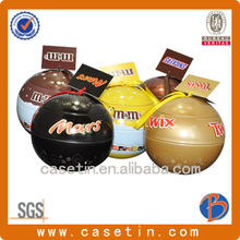Ball Shaped Decorative Tin Metal Tin Box With Cord For Christmas Promotion Gift Tin,