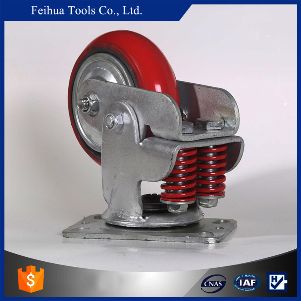 shock absorbing caster with Red PU wheels and iron core