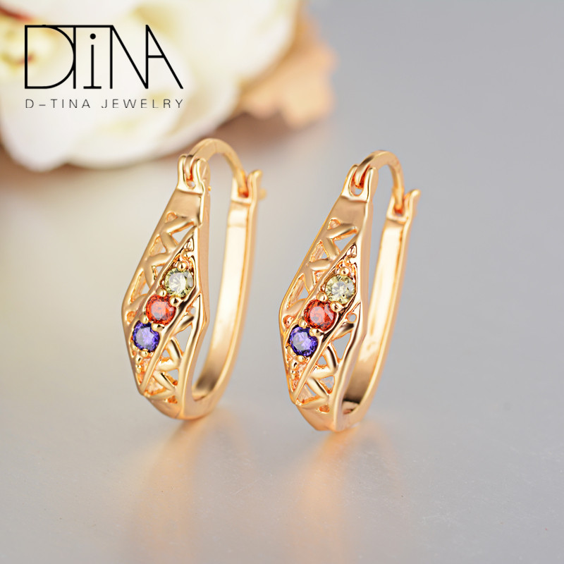 Dtina18 <strong>k</strong> <strong>gold</strong> plated cubic zirconia hoop earrings jewelry for women