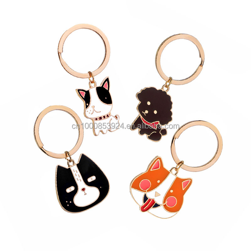 Enamel Dog Breed French Bulldog Corgi Key chains Pet Car Clip Charms Key ring