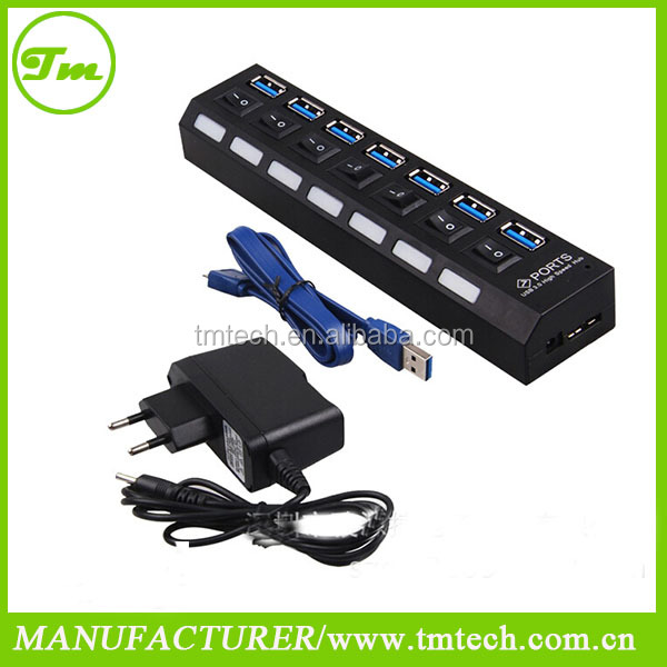 usb 3.0 hub driver 7 ports with On/Off Switch + AC Power Adapter For Desktop Laptop