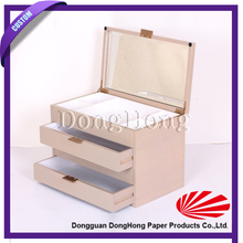 High End elegant unfinished mirrored wooden jewelry box with drawers