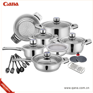 QANA Wholesale German Quality Cooker Cooking Pot Saucepan Frypan Set 16/17/18/19/21/22pcs Stainless Steel Cookware Set
