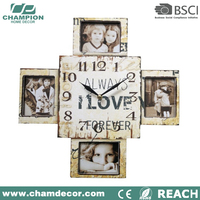 Antique hanging home decoration craft wood wall clock , wall clock wood frame
