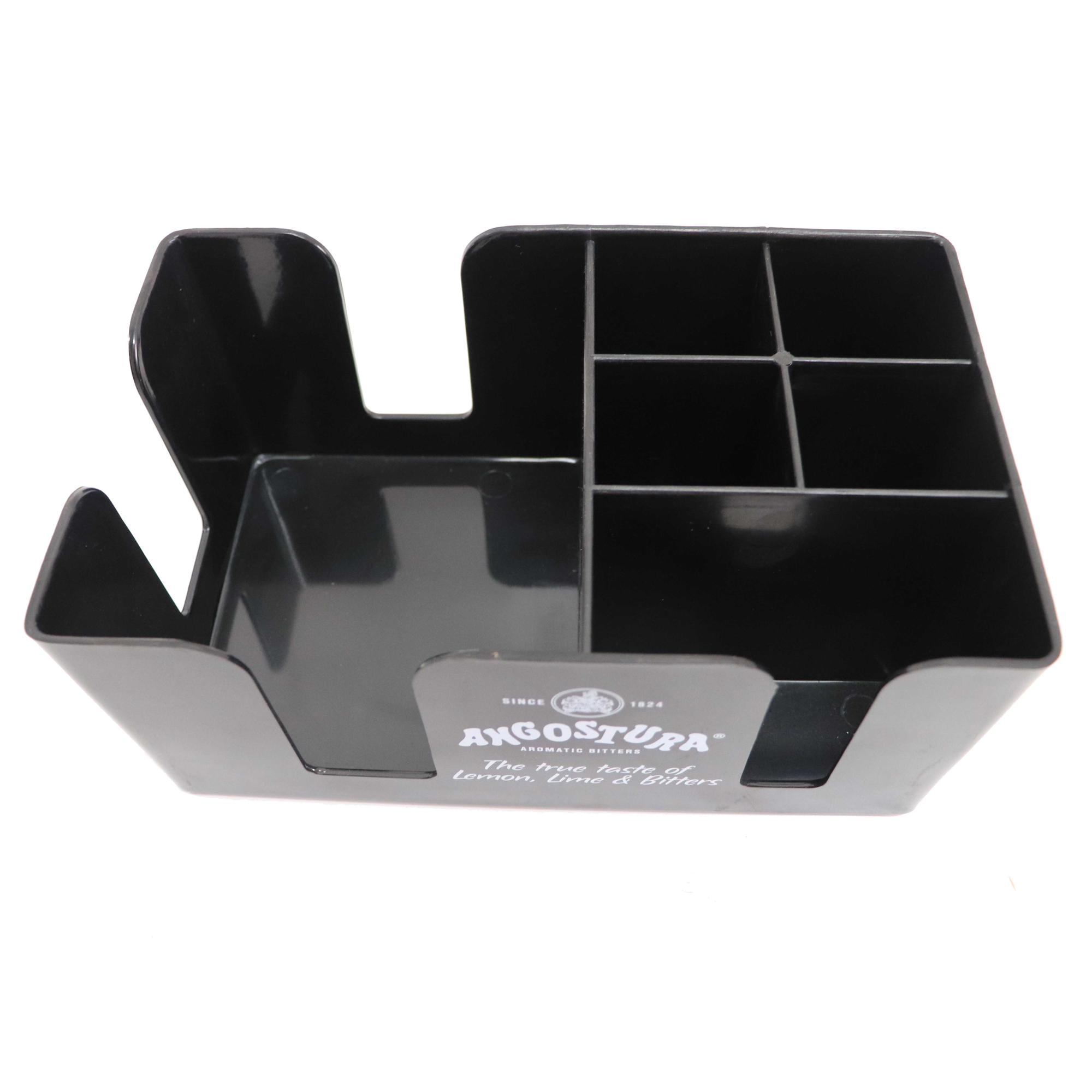 Black Color Plastic Bar Caddy with 6 Compartments