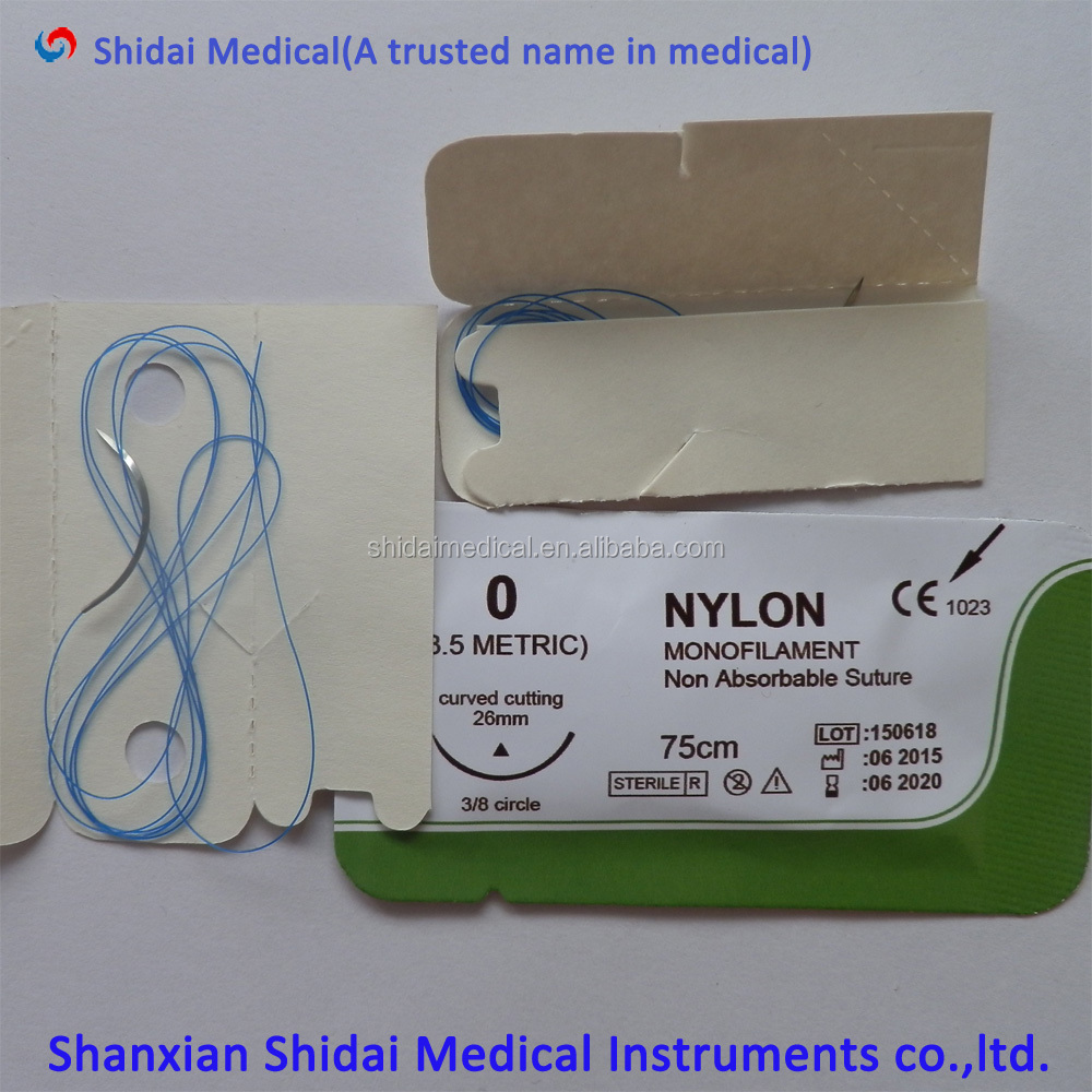 All kindsof Bottom price synthetic no absorbable surgical blue nylon suture with High Quality Nylon Monofilament
