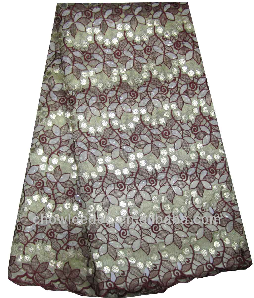 CL8221-1 African embroidery cotton lace five yards each piece with beaded or flowers