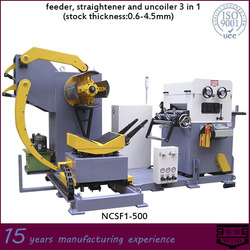 metal sheet coil feeder, straightener and uncoiler