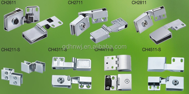Chrome Zinc alloy glass door hinge for display cabinet