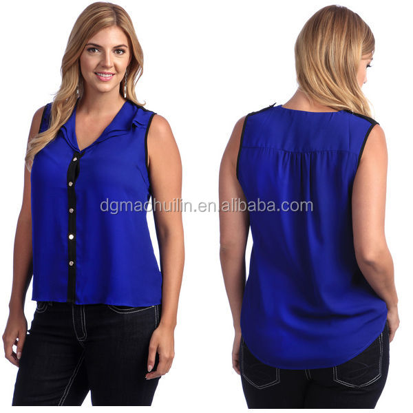 ladies plus size sleeveless v-neck models chiffon blouse