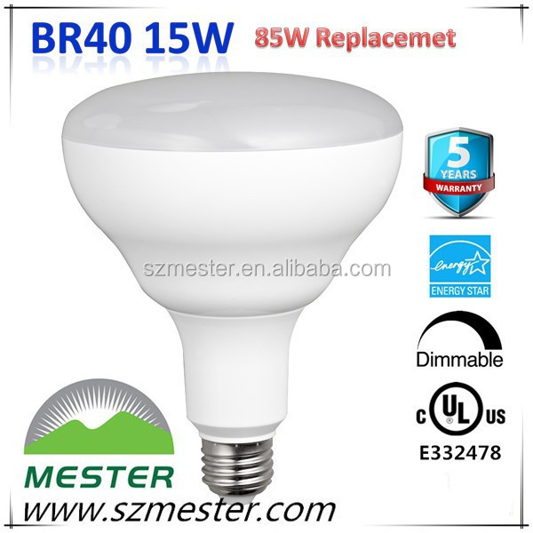 UL cUL ES E26 Dimmable 120V 1050lm 15w 85w equal BR40 LED Light Bulbs