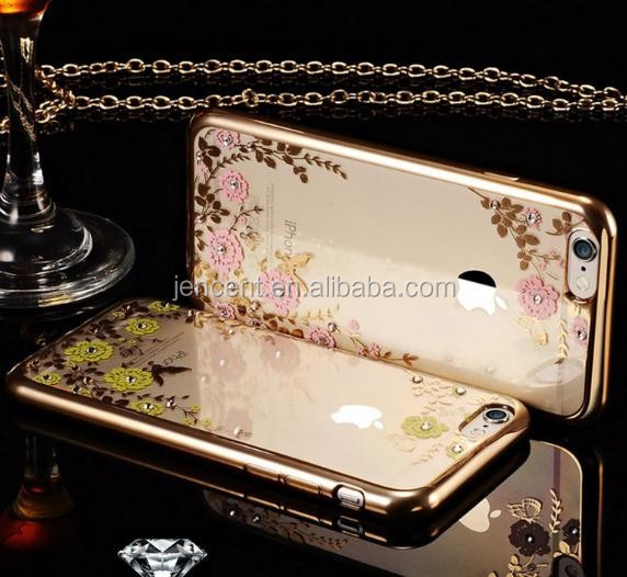 new arrival Secret garden flowers design plating tpu bumper mobile phone case for iphone 6 plus/ 6s plus case with diamonds