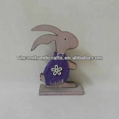 Desk decoration small wooden rabbit