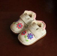 KS20058S Genuine Leather embroidered flowers baby girls cotton shoes