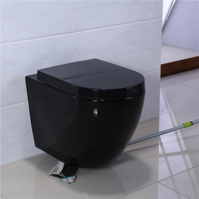 European standard bathroom wall mounting wc water closet ceramic black wall hung toilet