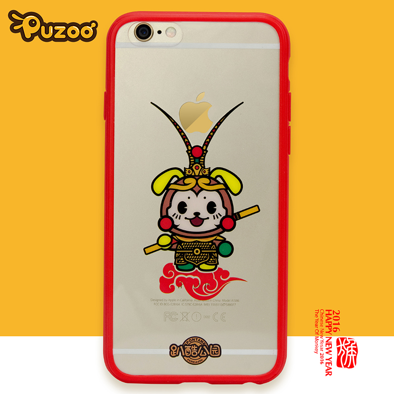 PUZOO Cute Monkey King handphone case Ultra thin Soft Clear Tpu Phone Case For iPhone 6 6S