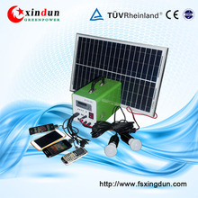 Portable 20W mini solar system 12V solar lighting system solar kit with mobile charger MP3 FM