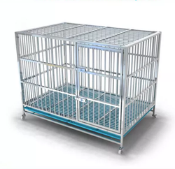 customized stainless steel single /double/three doors Dog Cage With Wheels