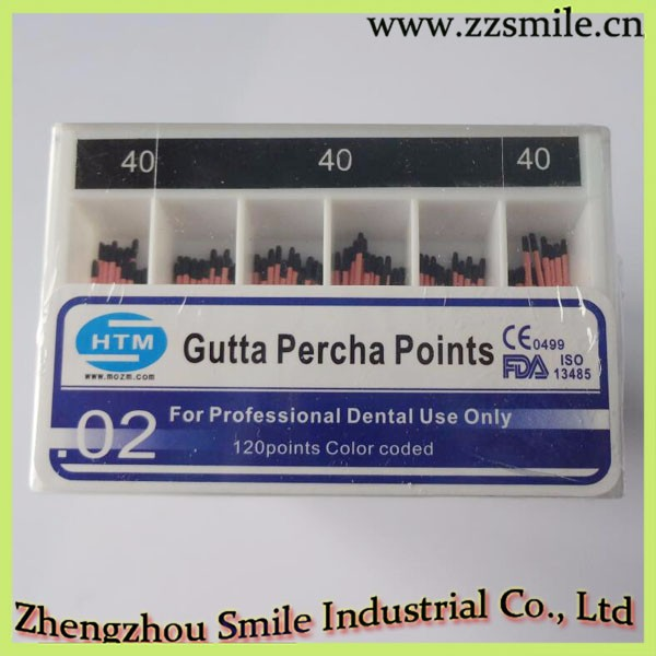 CE/ISO/FDA Approved HTM 02 Taper Dental Gutta Percha Points