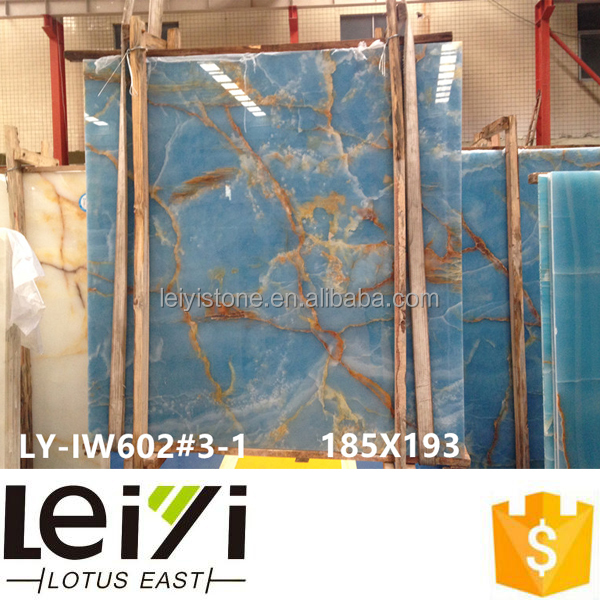 Blue color flamed onyx tile for exterior wall