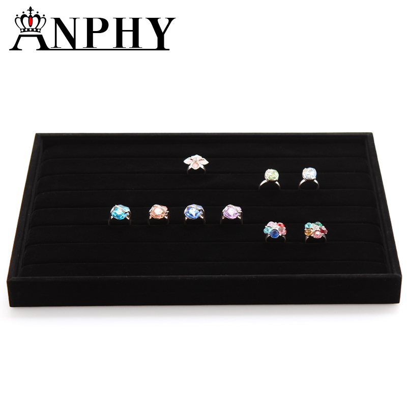 ANPHY A14 Fashion 7 slots black wood and velvet jewelry display ring trays