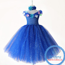 2016 Spring New Arrival blue Long Dress Handmade Tulle Tutu Dress Girls Wedding Party Formal Dress
