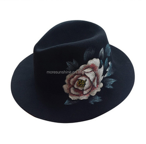 High Quality Panama Hat black Color with painted women hat