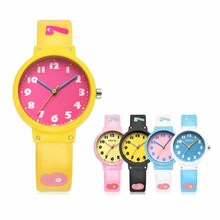 Kids lovely watch plastic case and PU strap popular for primary students