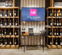 Laminated MDF display shelves and checkout counter designs for wine store decoration