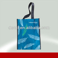 Reusable feather printing laminated non woven shopping bags for shoes