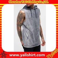 Summer oem oversized cheap sleeveless 100%cotton wholesale acid wash t shirts with drawstring hood