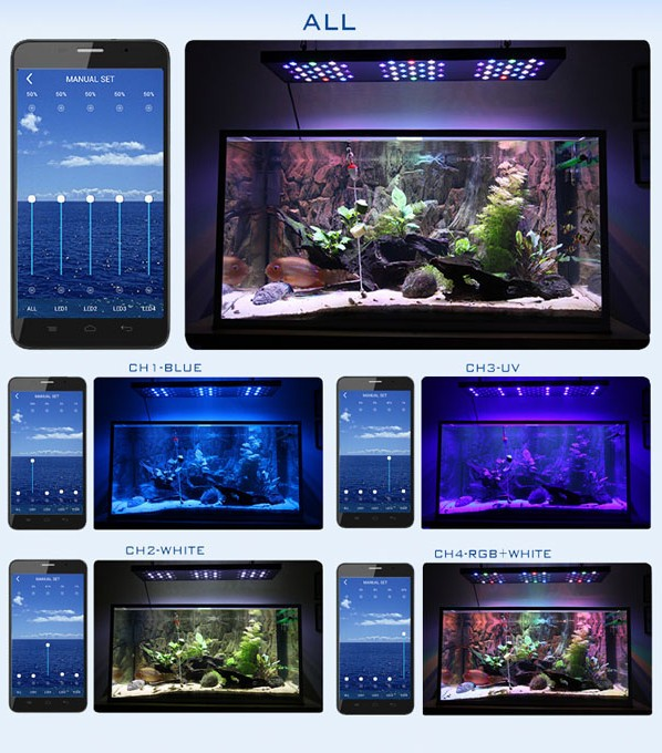 2015 new products Malibu S150 plus Android smart phone controlled programmable 150W led aquarium lighting