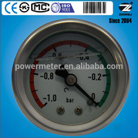 OEM 1.5inch 40mm pressure gauge oil filled for vacuum pressure scale -1 to 0 bar