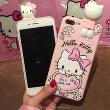 factary price cute soft pink hello kitty carton girl mobile phone silicone case for iphone 6 7 8 X, for Samsung galaxy S4 note7