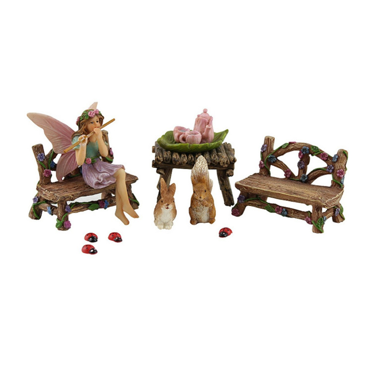 polyresin Fairy Garden Fairy Accessories Miniature Fairy Figurine & Furniture 14 Piece Starter Kit