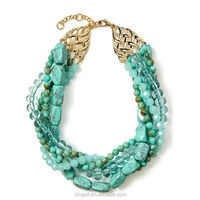 Trendy 2014 jewelry twist layres turquoise bead betty necklace