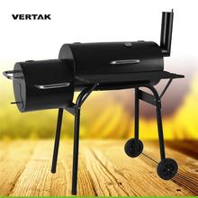 VERTAK Stainless Steel Combination Offset Smoker BBQ & Charcoal Grill