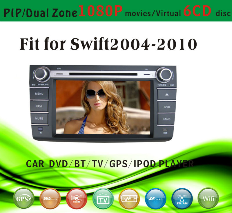 car dvd vcd cd mp3 mp4 player fit for Kia Suzuki Swift 2004 - 2010 with radio bluetooth gps tv pip dual zone