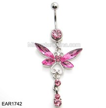 Stainless Steel Allergy Free Pink Crystal Butterfly Navel Ring