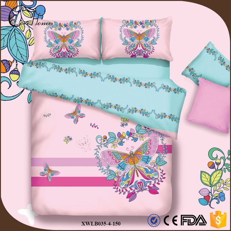 competitive price lovely pink colorful butterfly color printed 100% cotton bed duvet cover sheet bedding set