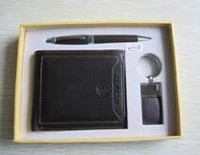 High quality promotional business corporate gift sets WALLET(PU) BALL PEN KEY CHAIN