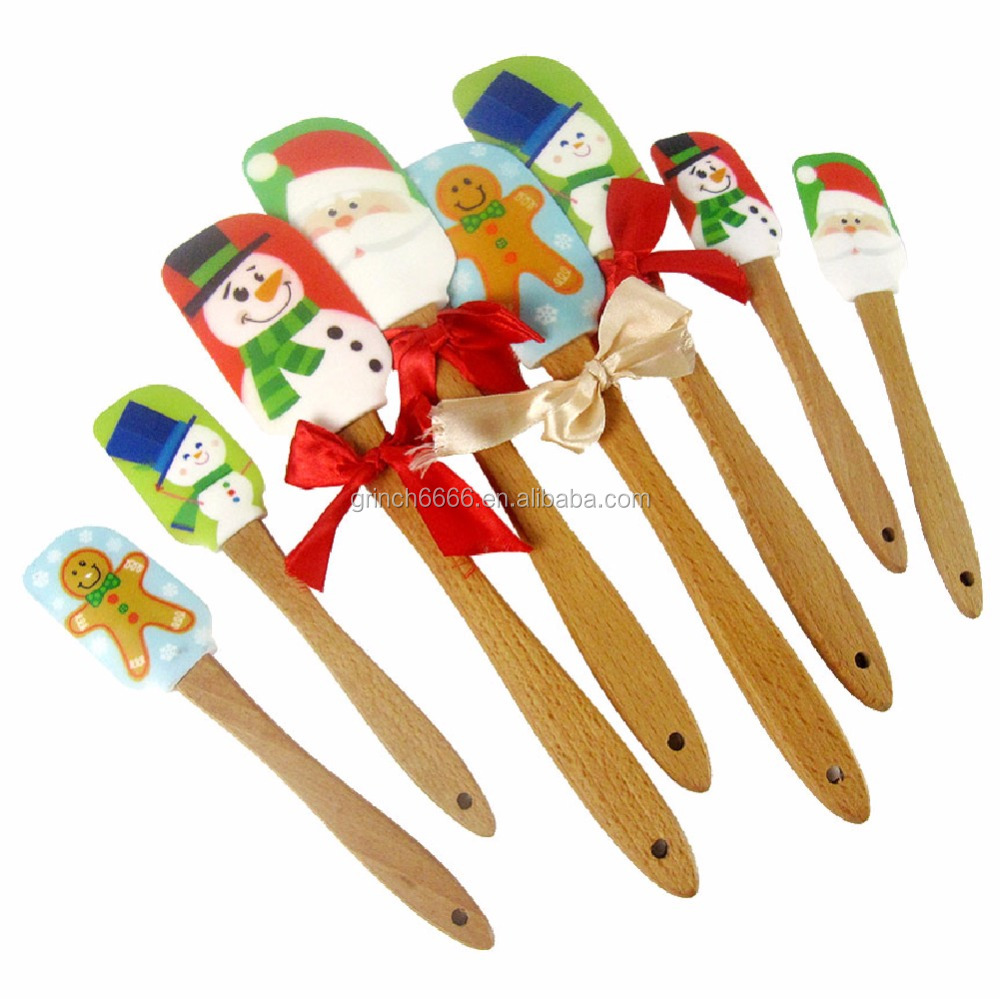 High Quality Christmas Series Santa Claus Silicone Scraper and Food Grade Gingerbread Man Cream Spatula Spoon