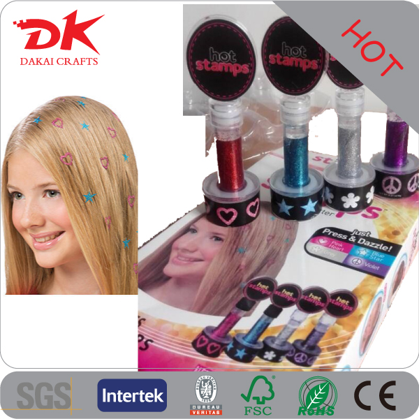 Personalized Glam hot stamp glitter tattoo kit with glue /glitter hair tattoo stencils