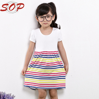 Knee length summer girls short sleeve striped dresses for kids