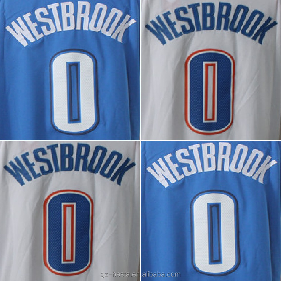 Custom Blue / White #0 Russell Westbrook Basketball Jersey