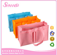 recycled custom foldable promotional pp laminated six grid for storage non woven mommy storage bag/ shopping bag