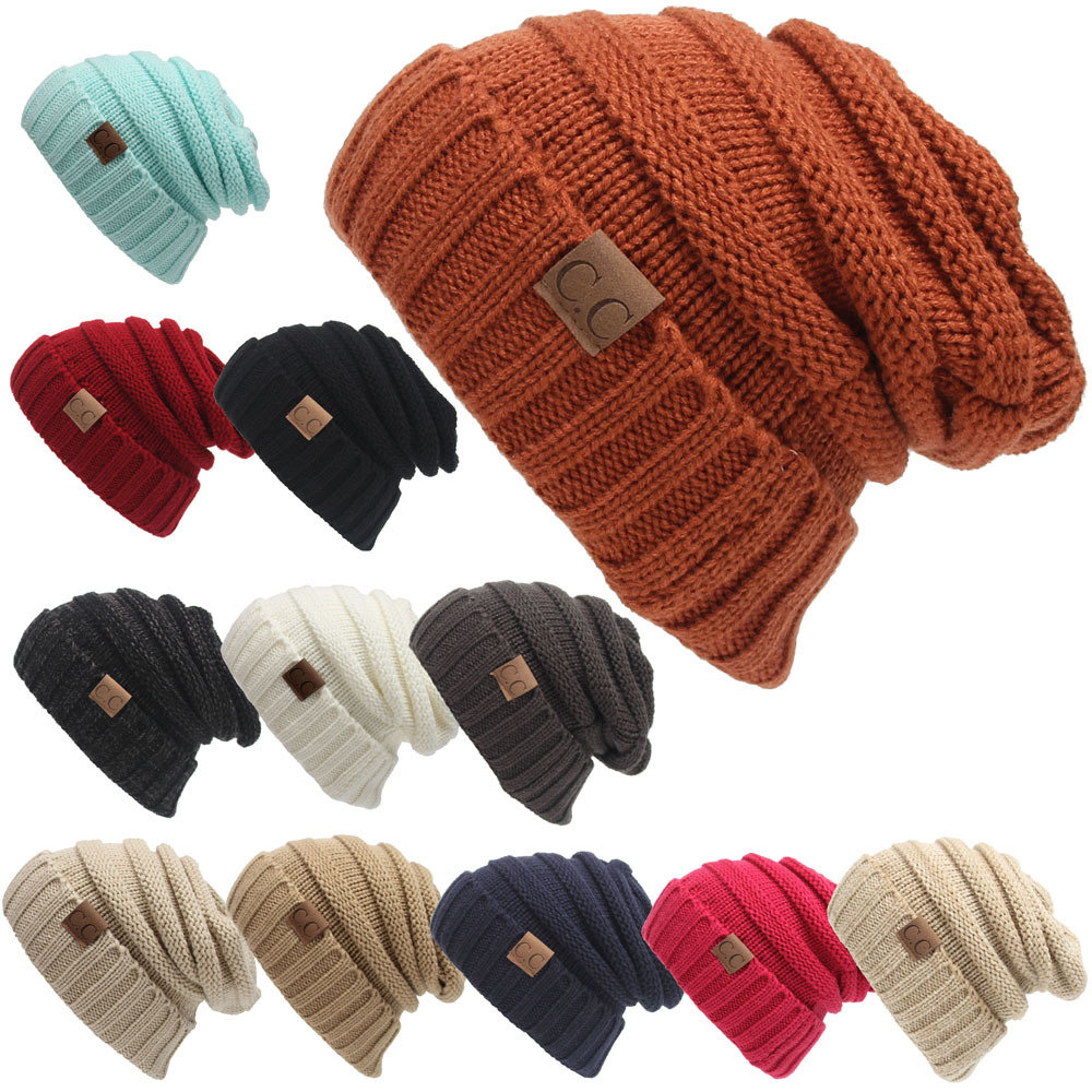 CC Labeling Beanies Hat Women Female Knitting Cap Outdoor Warm Hat Wholesale