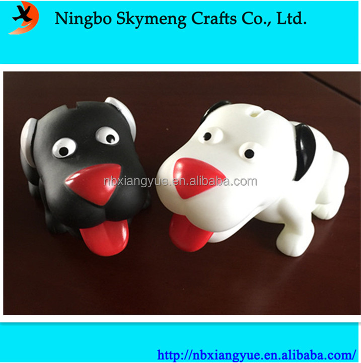 Hot selling ECO friendly PVC dog shape coin bank saving box for promotional
